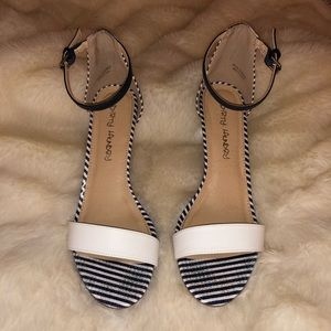 Navy and White Low Heel sandal 9.5